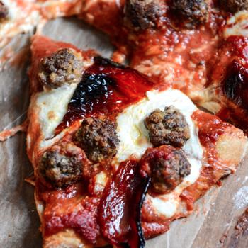 Mini Meatball Pizza with Fresh Mozzarella + Roasted Red Peppers Recipe - How Sweet It Is