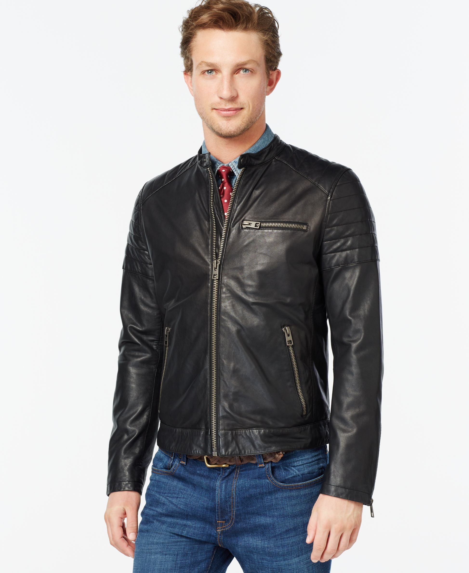 Tommy Hilfiger Quilted Leather Moto Jacket Products Pinterest
