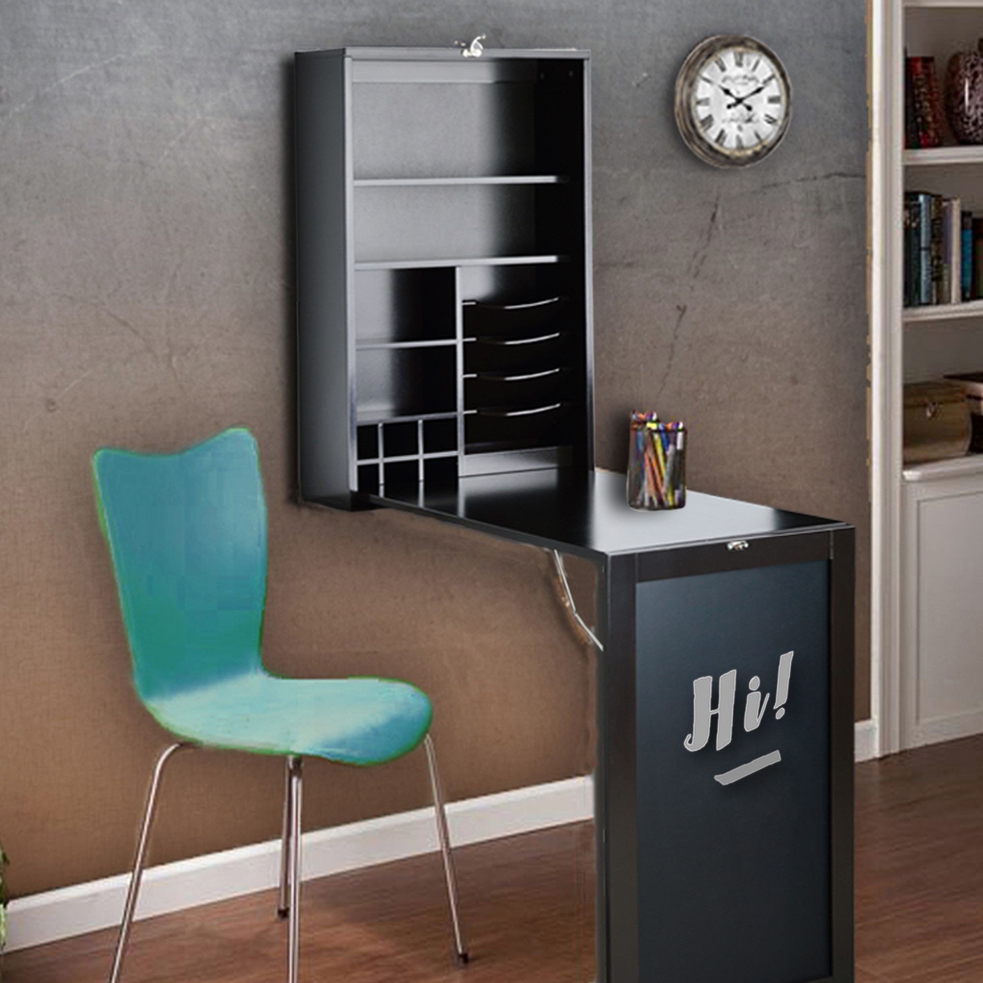 Fold Down Desk Table Wall Cabinet With Chalkboard White Or Espresso Utopia Alley