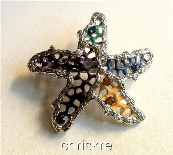 Starfish Silver Pin Austrian Crystals Multicolor Brooch Sea Life Beach USASeller