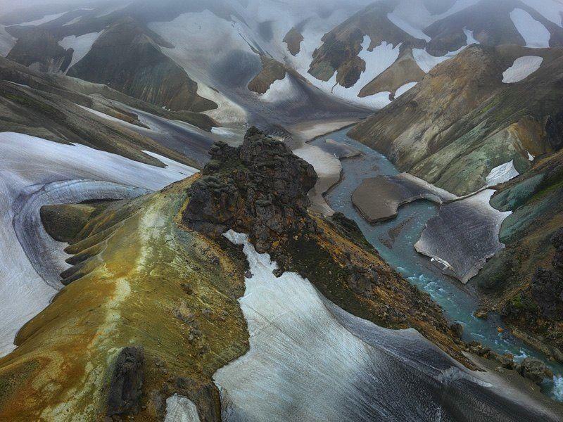 Satelite Images of Iceland   Aerial #12, Central Highlands, Iceland, June 2013.