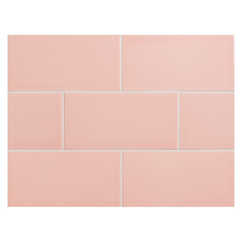 Vermeere Ceramic Tile Pale Pink Gloss 3 X 6 Subway Tile Pink Tiles Pink Ceramic Tile Ceramic Tiles