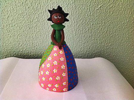 Cabaça - Boneca Patchwork - saia aberta - CAB 238 Loja Sonharteira - www.sonharteira.com.br