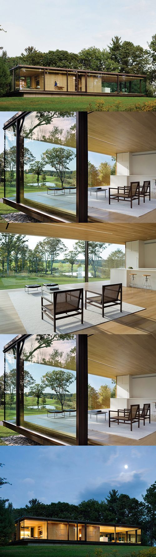 This prefab glass home makes a picture-perfect rural retreat with exposed metal structure, a light wood center core and minimalist furniture and decor.