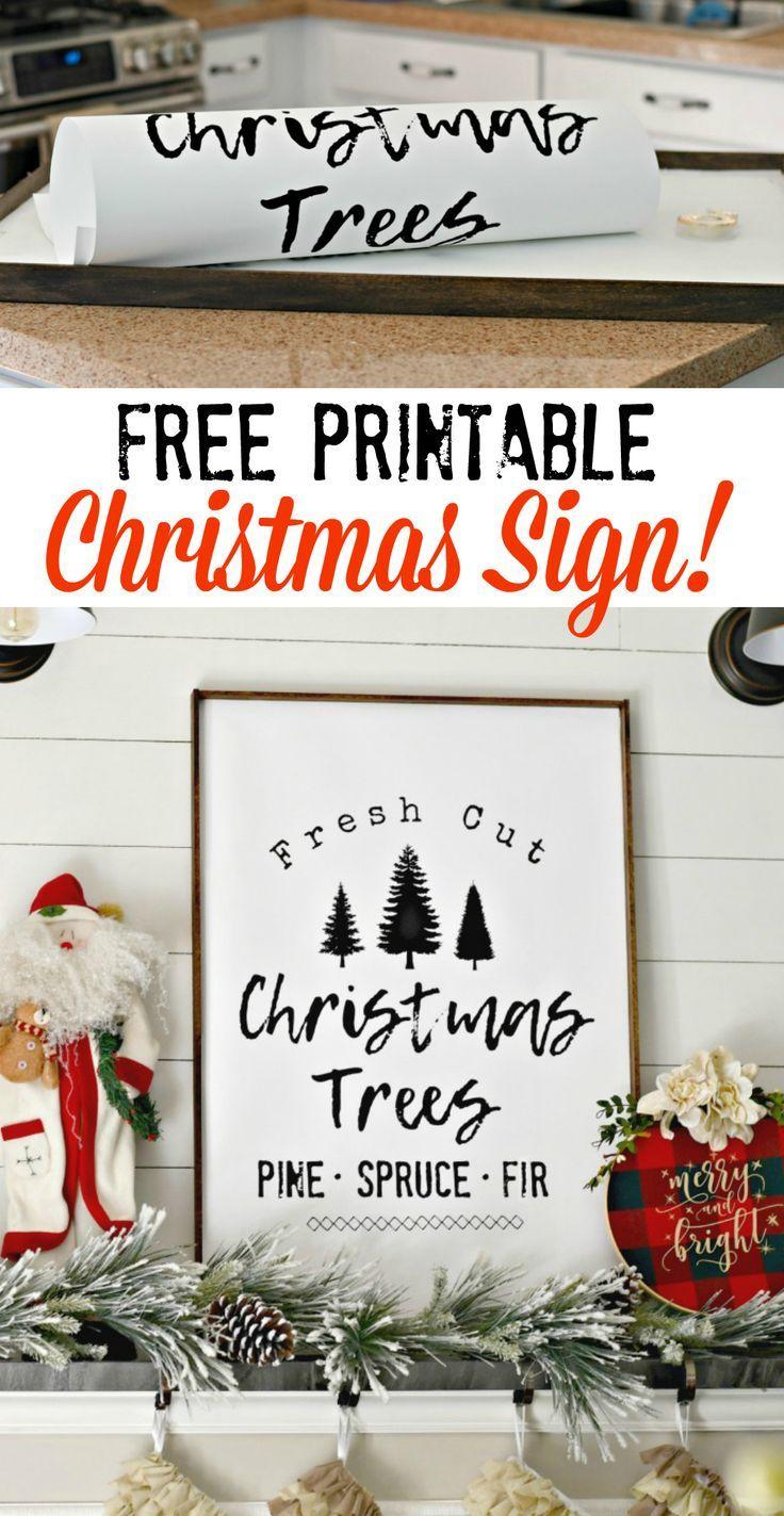 DIY Farmhouse Style Christmas Tree Sign (Free Printable