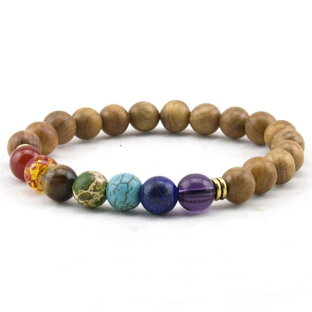 Fashion mens natural wooden beaded root chakra bracelet chakra