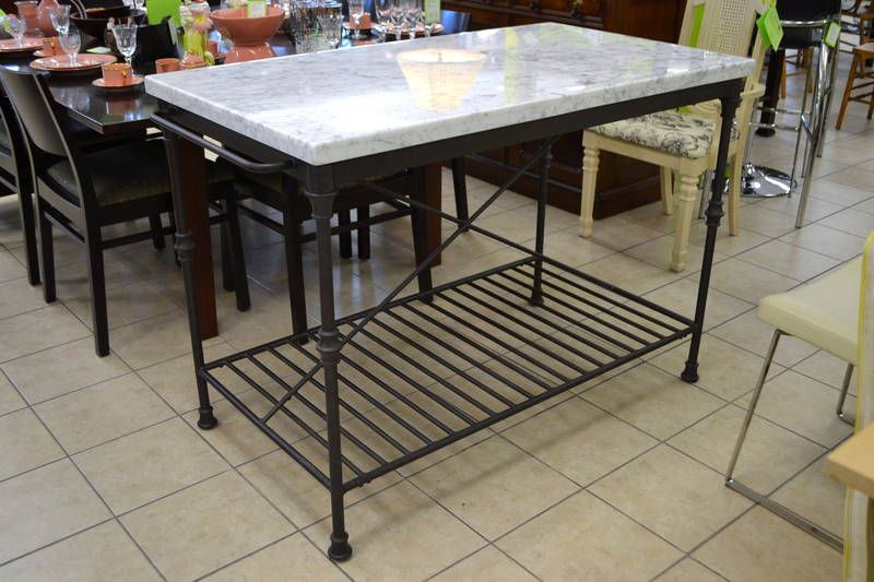 Fab French Kitchen Island with Grey Carrara Marble Top (1.5 ...