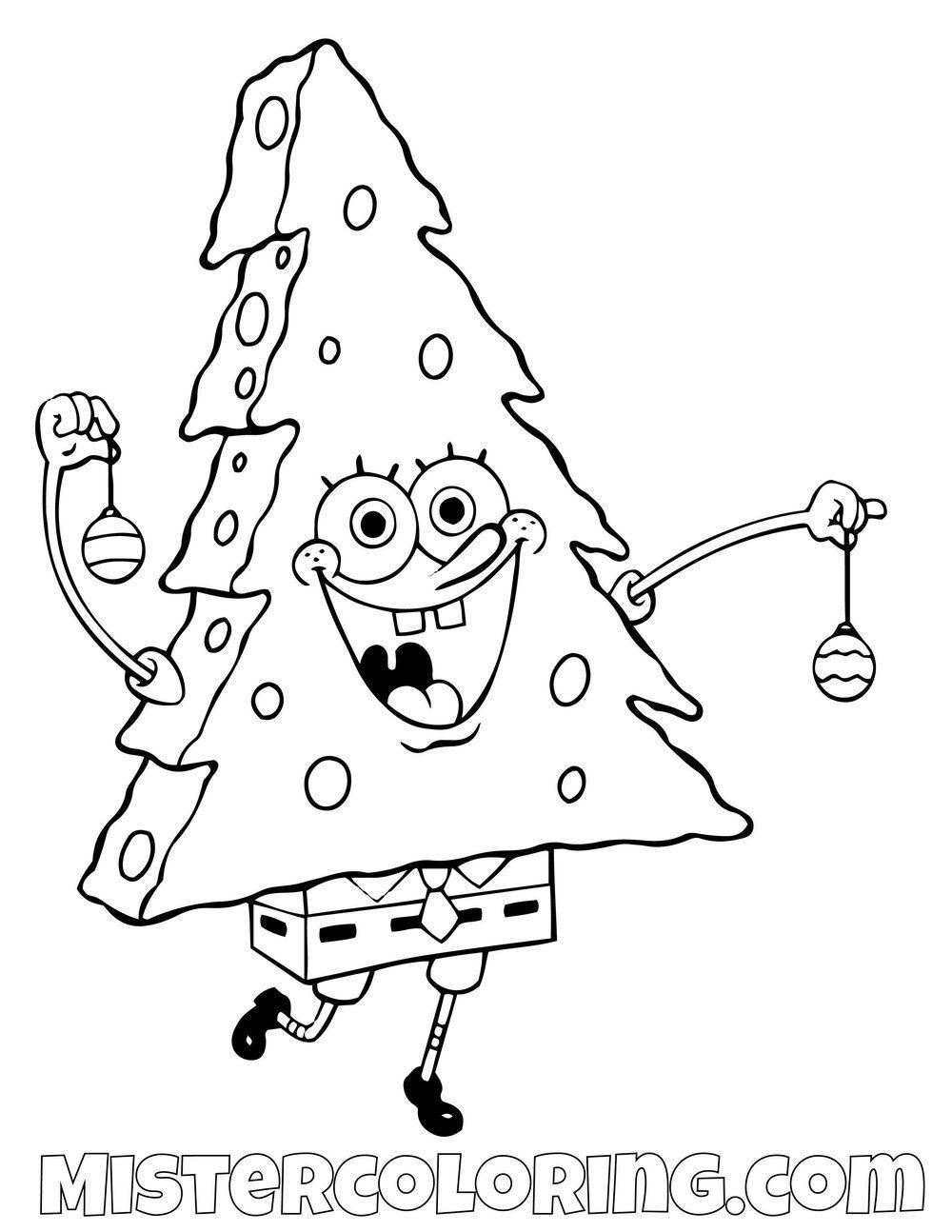Spongebob Christmas Tree Costume Spongebob Squarepants Coloring Pages For Kids Halloween Coloring Pages Printable Christmas Coloring Pages Spongebob Christmas
