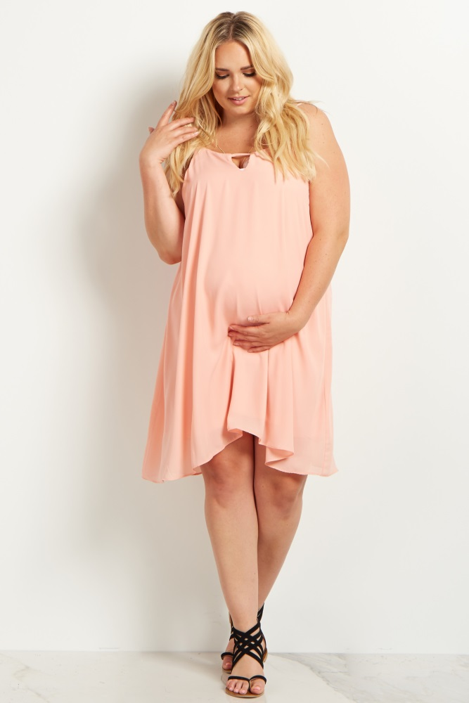 50c7992c447 Light Pink Chiffon Cutout Plus Size Maternity Dress in 2019 ...