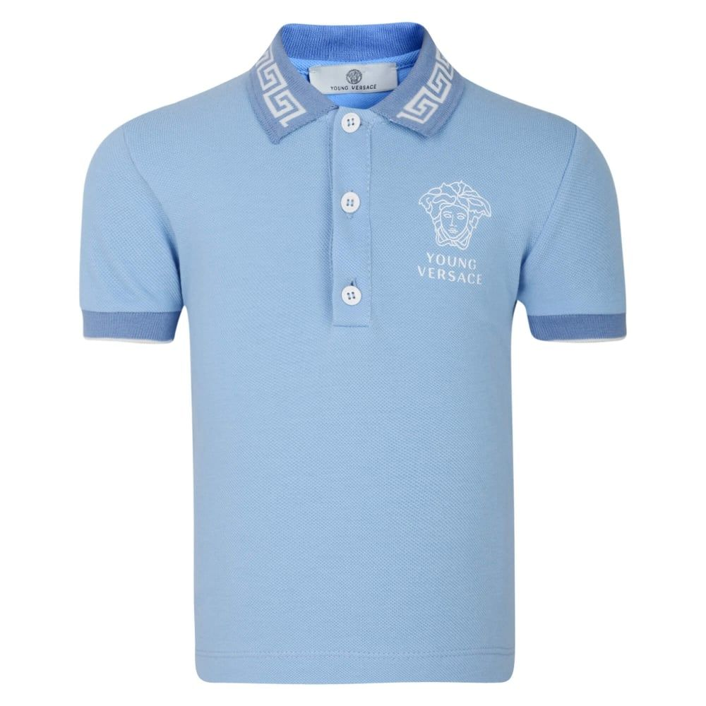 9a7e94c23 Young Versace Baby Boys Blue Polo Shirt with Embroidered Medusa Logo and  Fret Pattern Collar