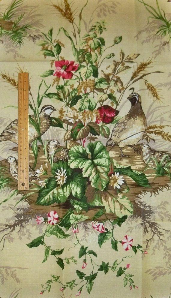 SCALAMANDRE EDWIN'S COVEY Pheasant Linen Toile Fabric 10 Yards Sisal Multi