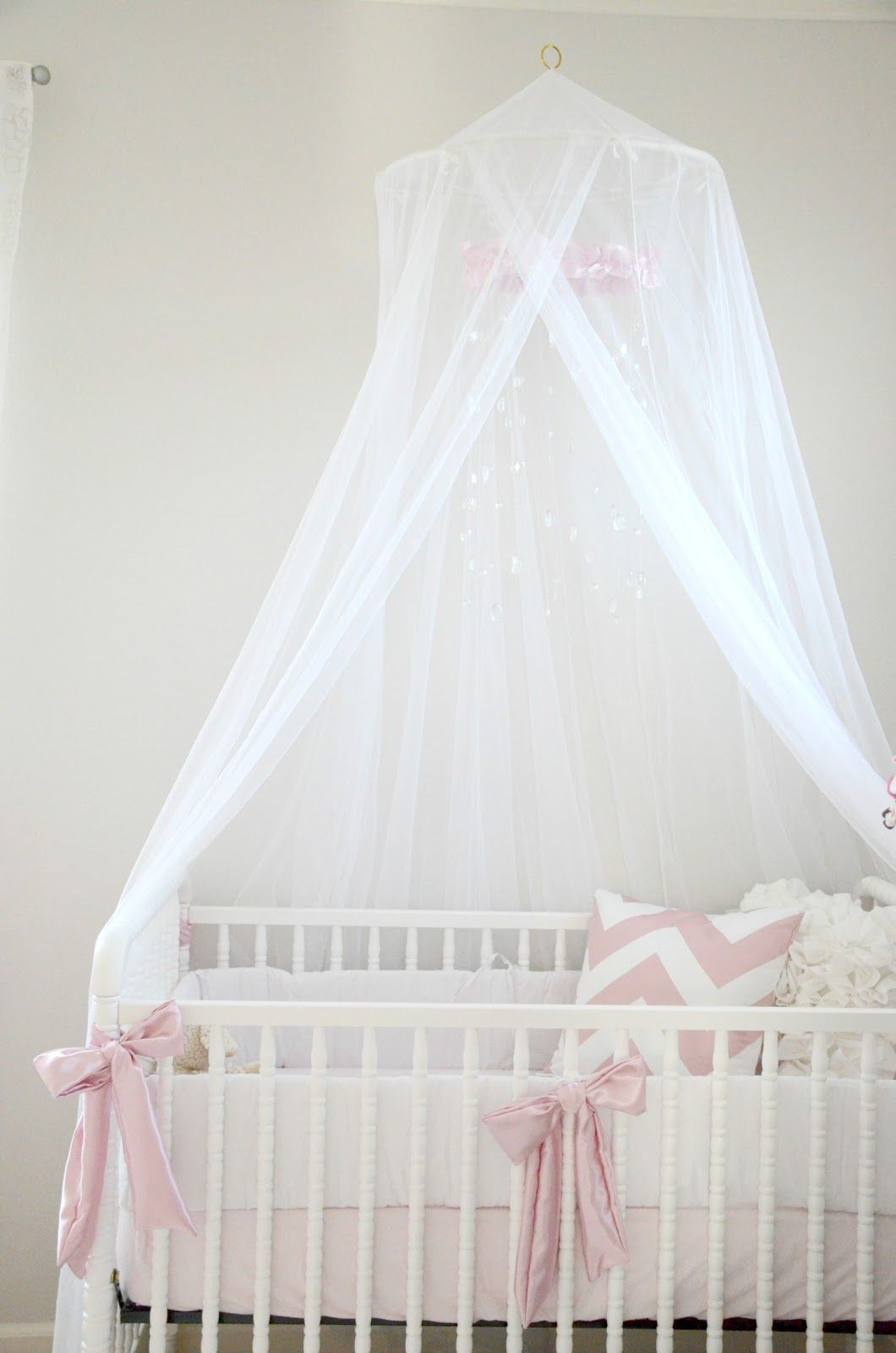 pink white grey nursery crib canopy little baby bateman