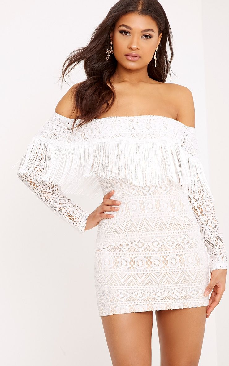 White Bardot Tie Detail Ribbed Bodycon Dress Pretty Little Thing Cheapest Price Cheapest Discount Outlet Outlet Low Price Fee Shipping neanX2zM