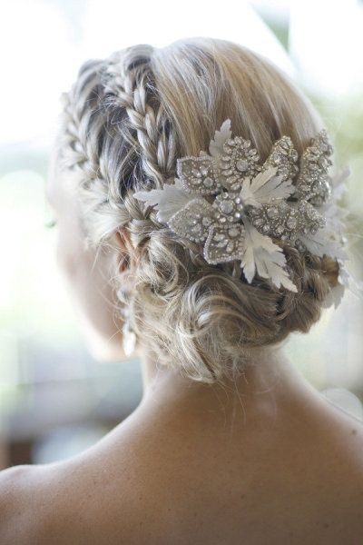 Bridal Hair  25 Wedding Upstyles & Updos  An enchanting side braided upstyle with dazzling hair accessory creates an ethereal look | Would also be pretty for bridesmaids (minus the hair piece).