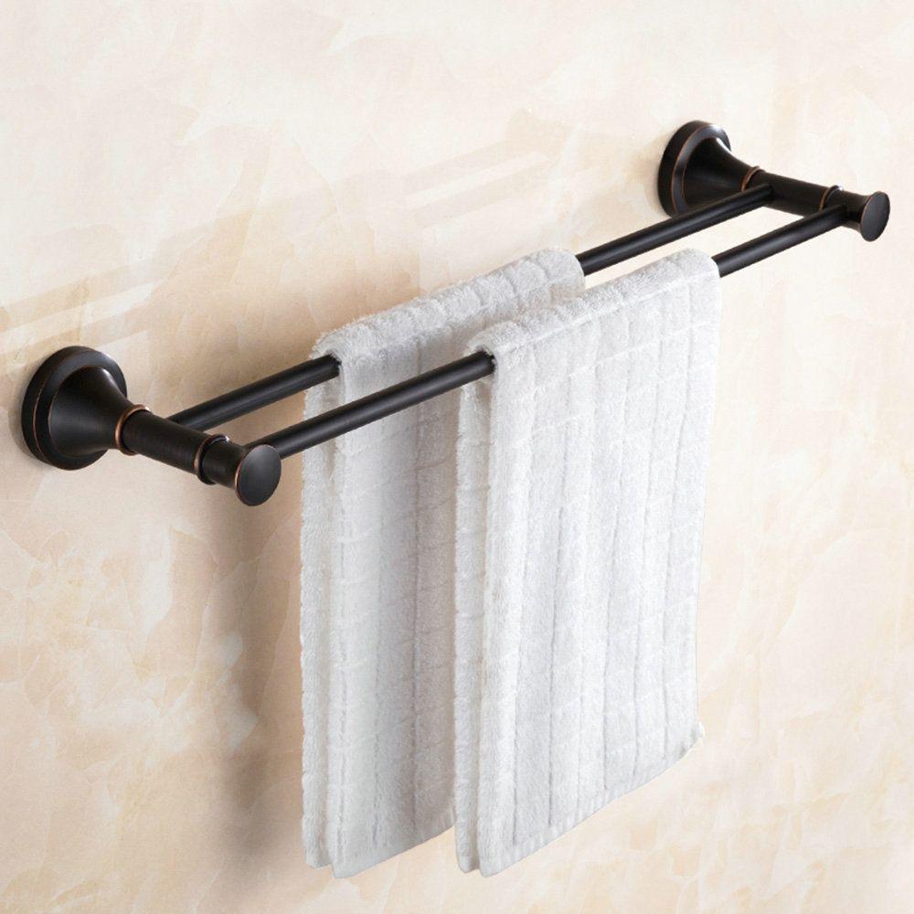 Handtuchstange Doppelt Bad aus Messing Schwarz Badzubehör