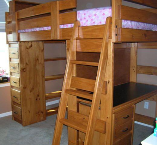 Bunk Loft Factory Twin Loft Bed Desk Shelves Sturdy