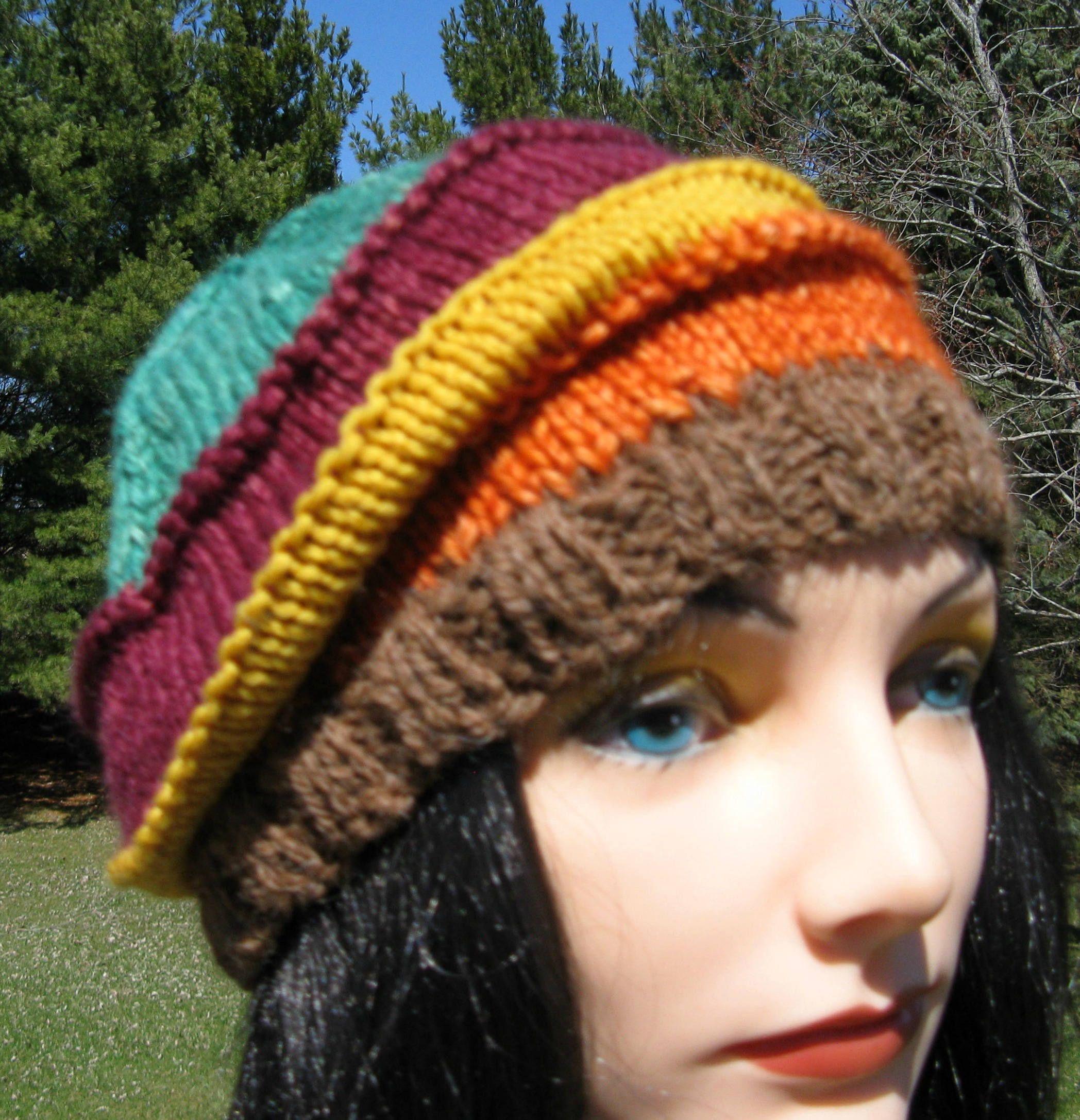 Knit Wool Hat for Men or Women, Alpaca Handmade Beanie, Warm Winter Beanie, Striped Slouch, Brown, Orange, Yellow, Burgundy and Green Hat by NorthStarAlpacas on Etsy