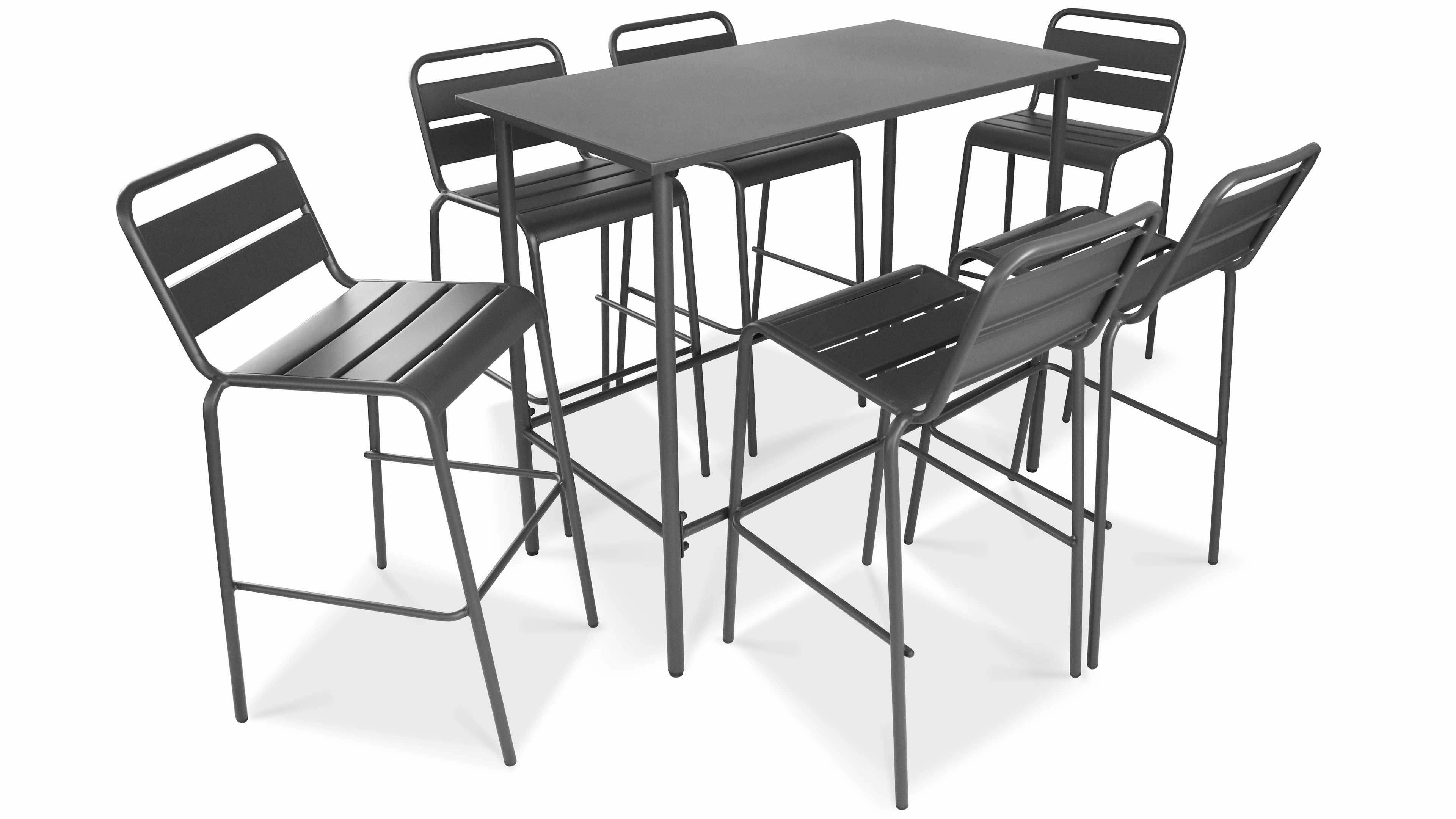 Table Haute De Jardin En Metal Gris Et 6 Tabourets Table Haute