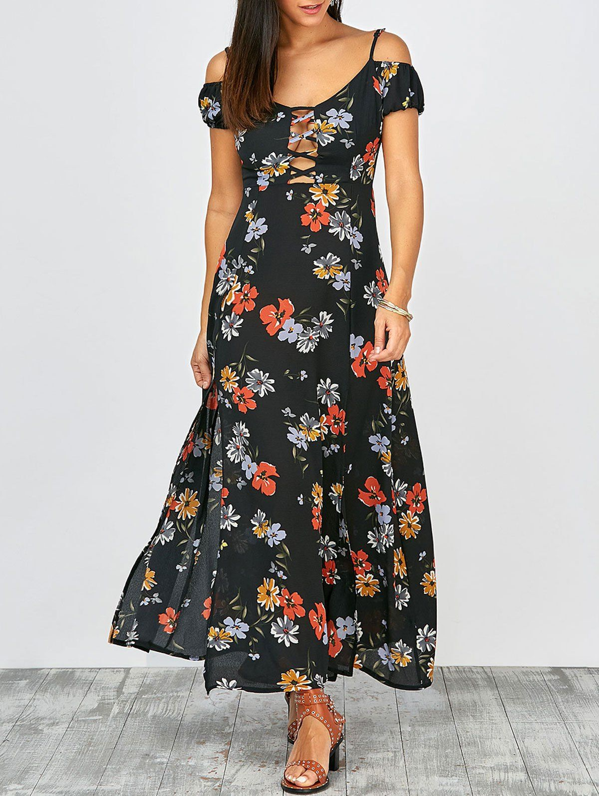 High split lace up floral maxi dress in multi sammydress
