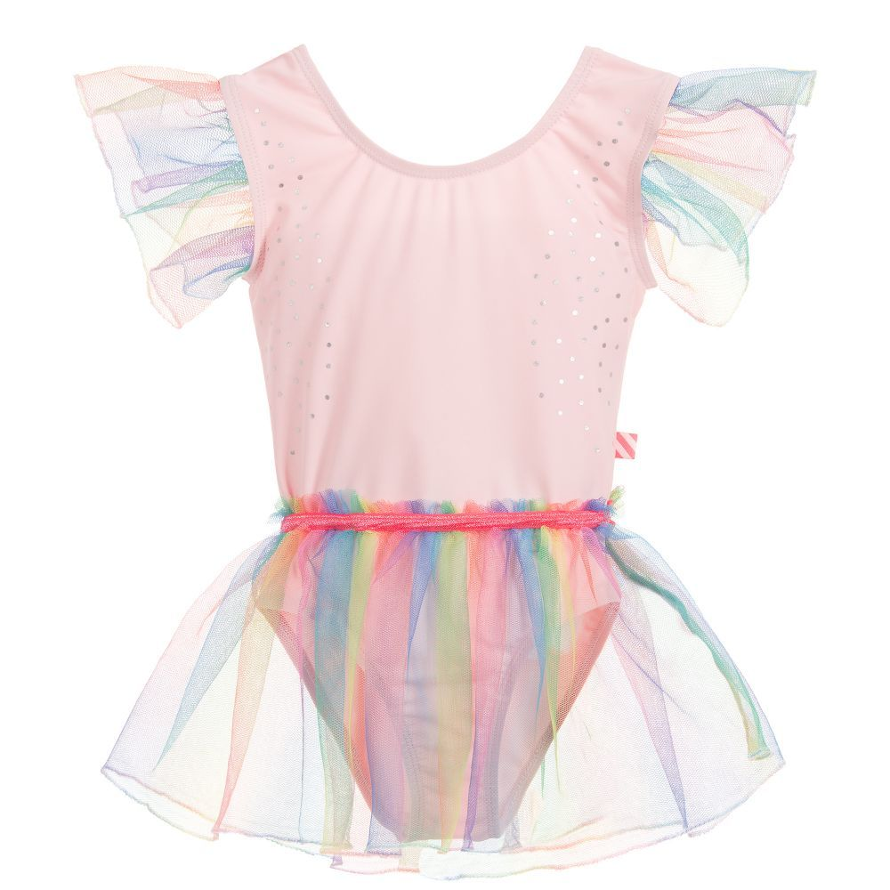 aad78ee13 Girls pink silky smooth Billieblush swimming suit with neon rainbow tutu  skirt and sleeve trims.