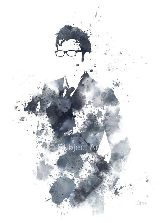 Doctor Who, David Tennant lámina Ilustración, arte de la pared, decoración del hogar, caja de policía, ciencia ficción