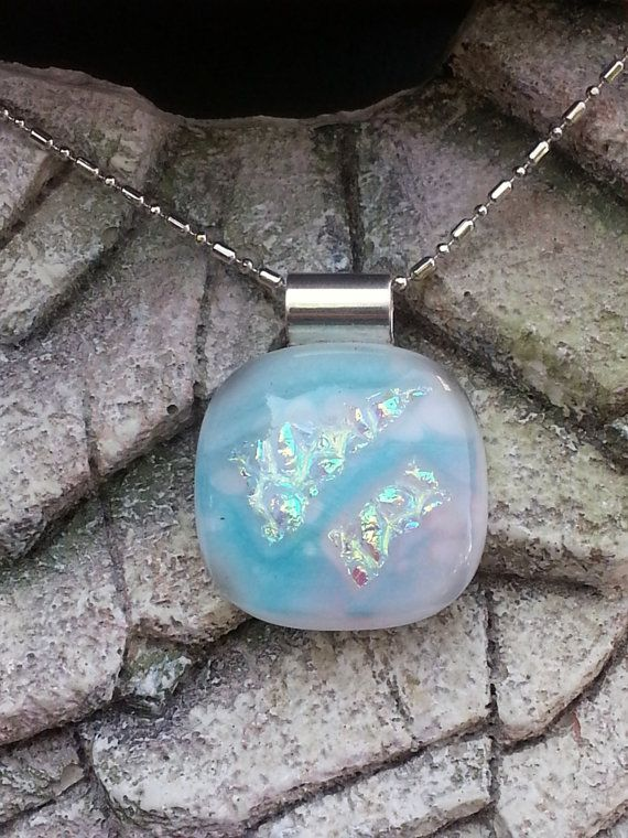 Dichroic Glass Pendant  White with Turquoise by LolasGlassPendants, $21.00