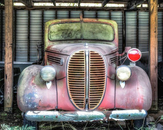 1938 Ford Fire Truck, Rusty Classic Cars, Classic Car Photography, Fire Truck Ph…
