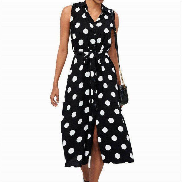 Women Polka Dot Belted V Neck Midi Sundress Ladies Summer Beach Casual Dresses