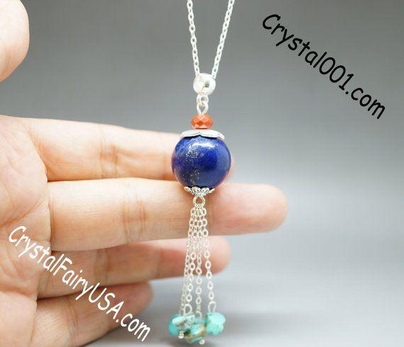 Genuine lapis necklace lapis lazuli stone tassel necklace natural gemstone necklace sweat long chain necklace long necklace healing necklace