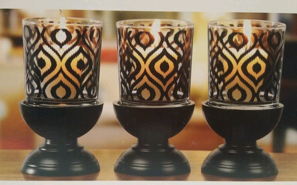 Candle Holders 3 Piece Gift Set By Interiors By Design Black Color