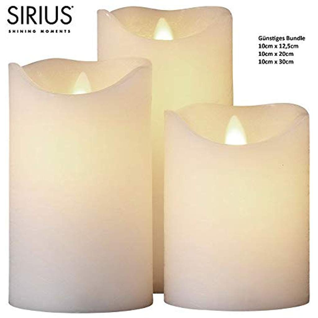 Sirius Led Kerze 3er Set Sara Exclusive 10 X30 X20 X12 Cm Batterie