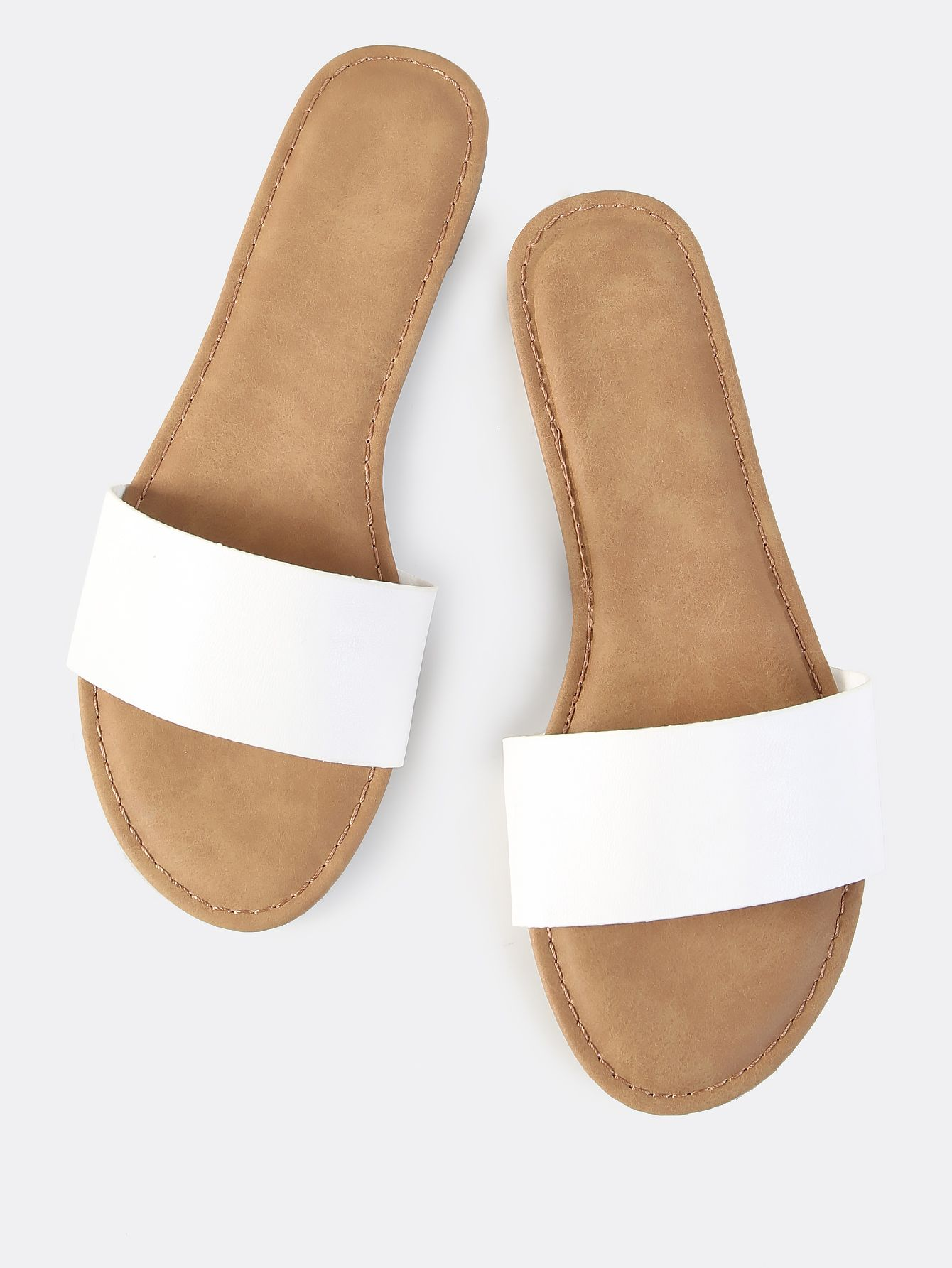 7aee99b78dea1 Shop Faux Leather Slip On Sandals WHITE online. SheIn offers Faux Leather  Slip On Sandals WHITE   more to fit your fashionable needs.