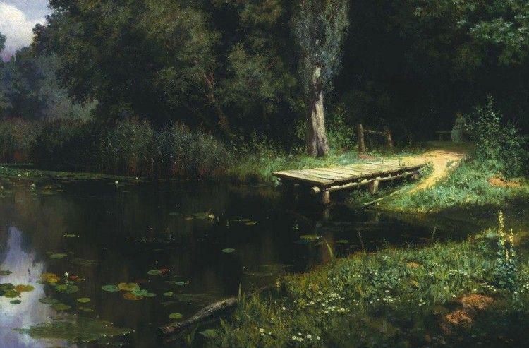 Overgrown pond Vasily Polenov 1879 Oil on canvas 77 x 121.8 cm. The Tretyakov Gallery, Moscow