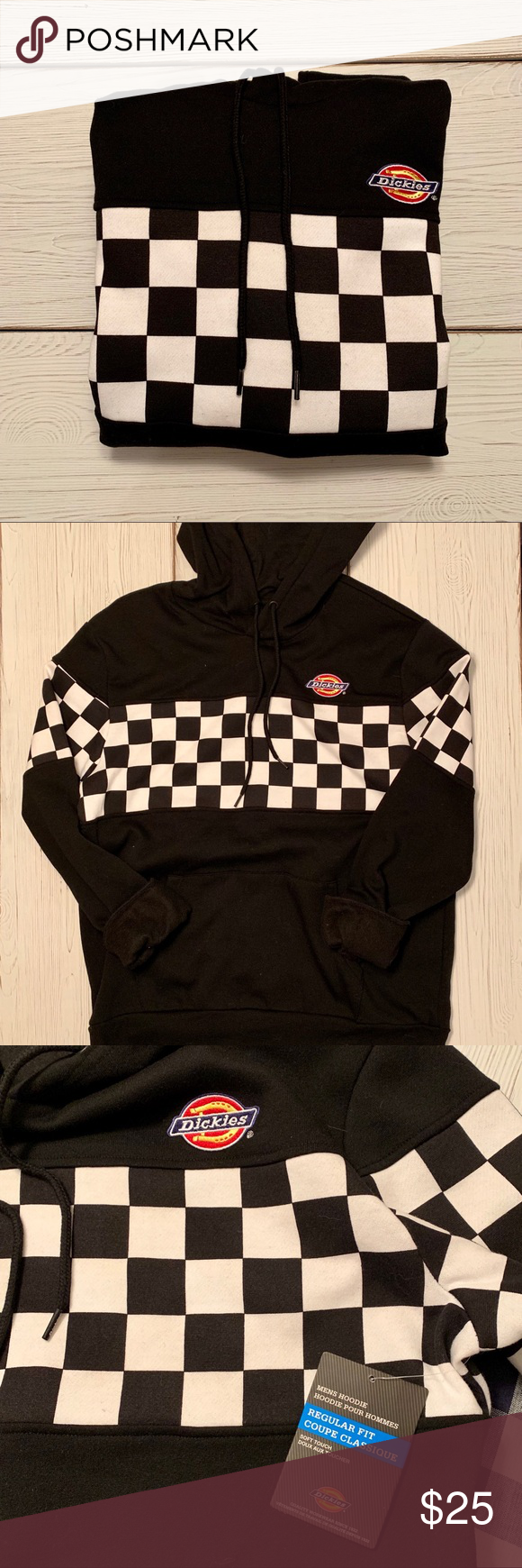 Nwt Dickies Black Hoodie Checker Sweatshirt Black Hoodie Sweatshirts Sweatshirt Shirt [ 1740 x 580 Pixel ]