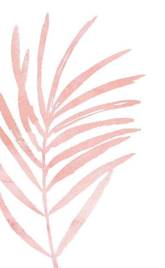 Pink Leaf Print. Blush Pink Botanical Art Print. Light Pink Leaf Art. Minimal Botanical Prints. Minimalist Art. Pale Pink and White Wall Art