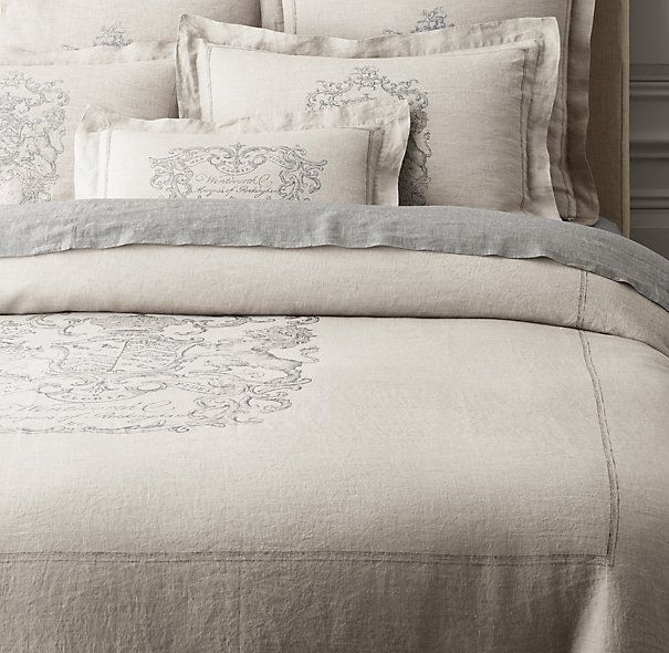Living a beautiful life wentworth crest vintage washed for Duvet covers restoration hardware