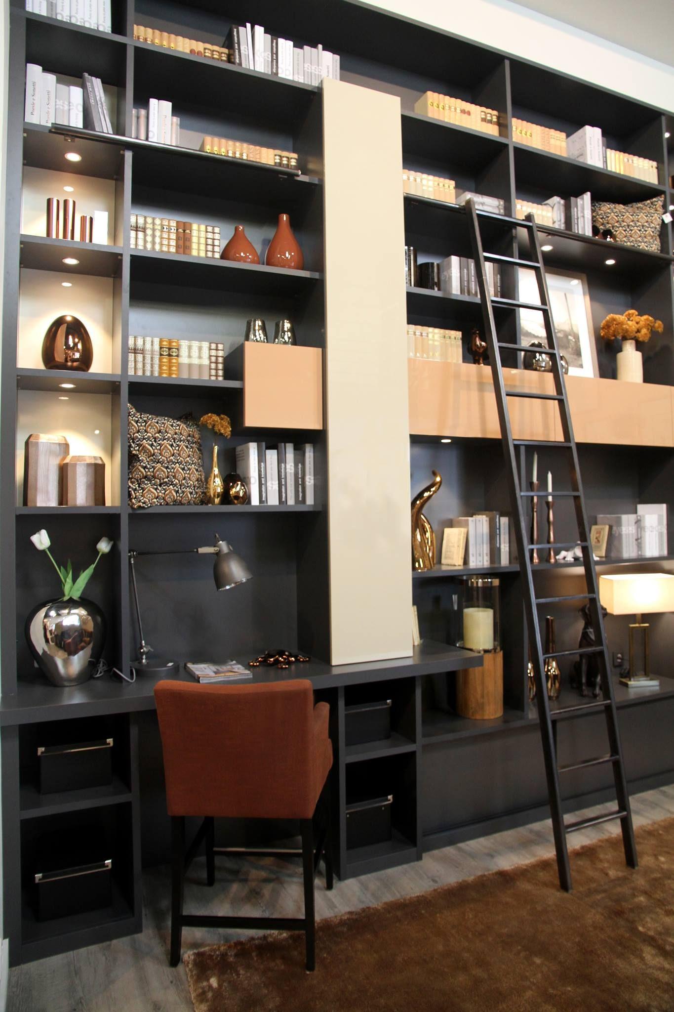 biblioth que sur mesure m lamin anthracite et mdf laqu. Black Bedroom Furniture Sets. Home Design Ideas