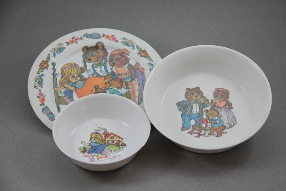 Vintage Oneida Goldilocks and The Three Bears Melmac Childrenu0027s Plate Set Vintage Kids Dinnerware & Vintage Oneida Goldilocks and The Three Bears Melmac Childrenu0027s ...