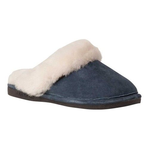 78b2d8d006b74 Women s Old Friend Scuff Slipper - Navy Blue Leather Slippers ...