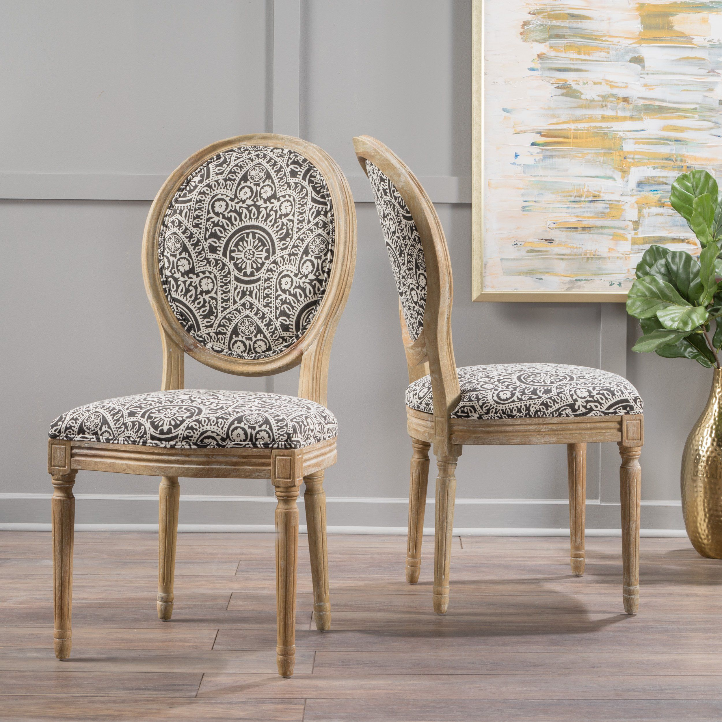 Surprising Hawthorne Black And White Patterned Fabric Dining Chair Set Dailytribune Chair Design For Home Dailytribuneorg
