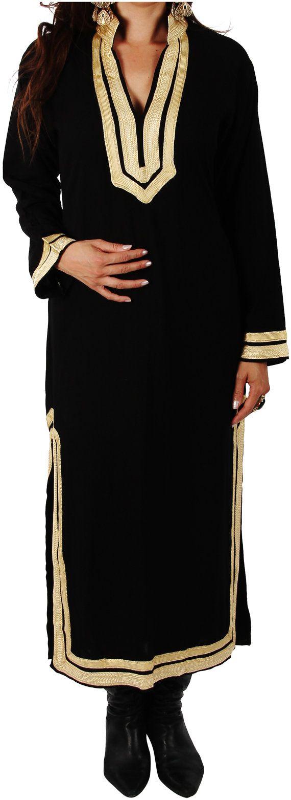 Kaftan Mariam Black Bohemian Caftan Kaftan-loungewear, resortwear, spa robe, cadeau de fête des mères, anniversaires ou cadeaux de maternité, plage Kaftan #area51partyoutfit