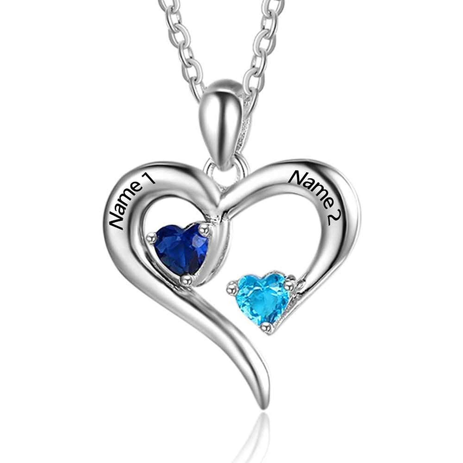 Personalized 2 Names Simulated Birthstones Necklaces 2 Couple Hearts Name Engraved Pendants Fo Birthstone Necklace Birthstone Jewelry Sterling Silver Necklaces