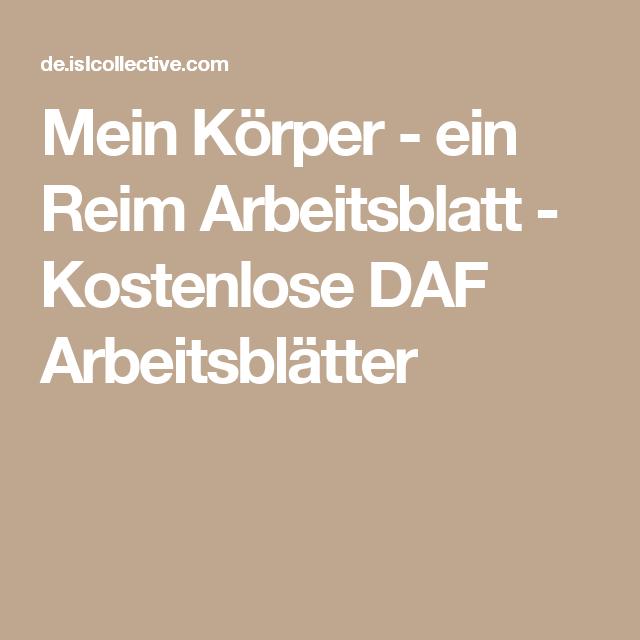 Mein Körper - ein Reim Arbeitsblatt - Kostenlose DAF Arbeitsblätter ...