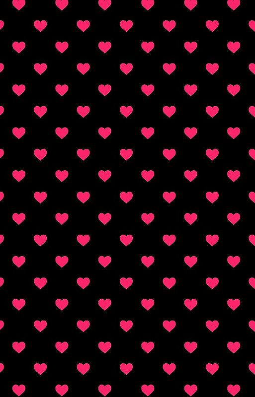 Hot Pink Polka Dot Hearts On Black Background By Honorandobey Pink Wallpaper Iphone Heart Iphone Wallpaper Pink Wallpaper Backgrounds