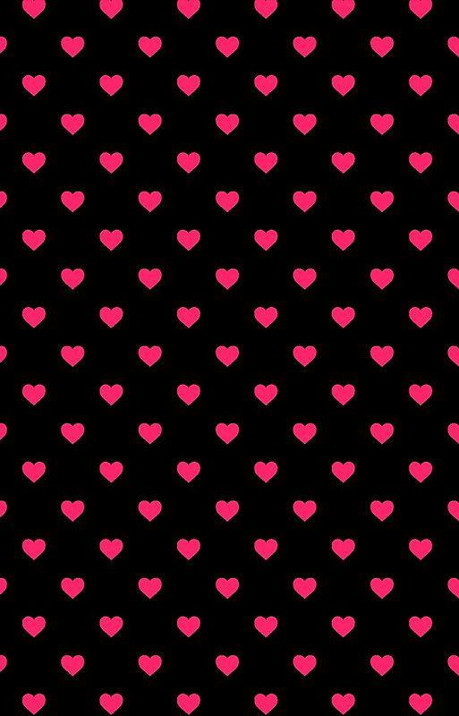 Hot Pink Polka Dot Hearts On Black Background Iphone 12 Soft By Honorandobey Heart Iphone Wallpaper Pink Wallpaper Backgrounds Pink Wallpaper Iphone