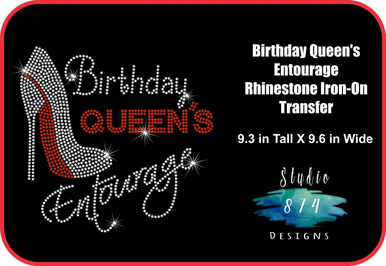 eafcef9359e9 BIRTHDAY Queen's Entourage Rhinestone Bling Iron-on Transfer Applique - GNO  - Shoe Girls Night Out T-shirt - Bling DIY by Studio874Designs on Etsy