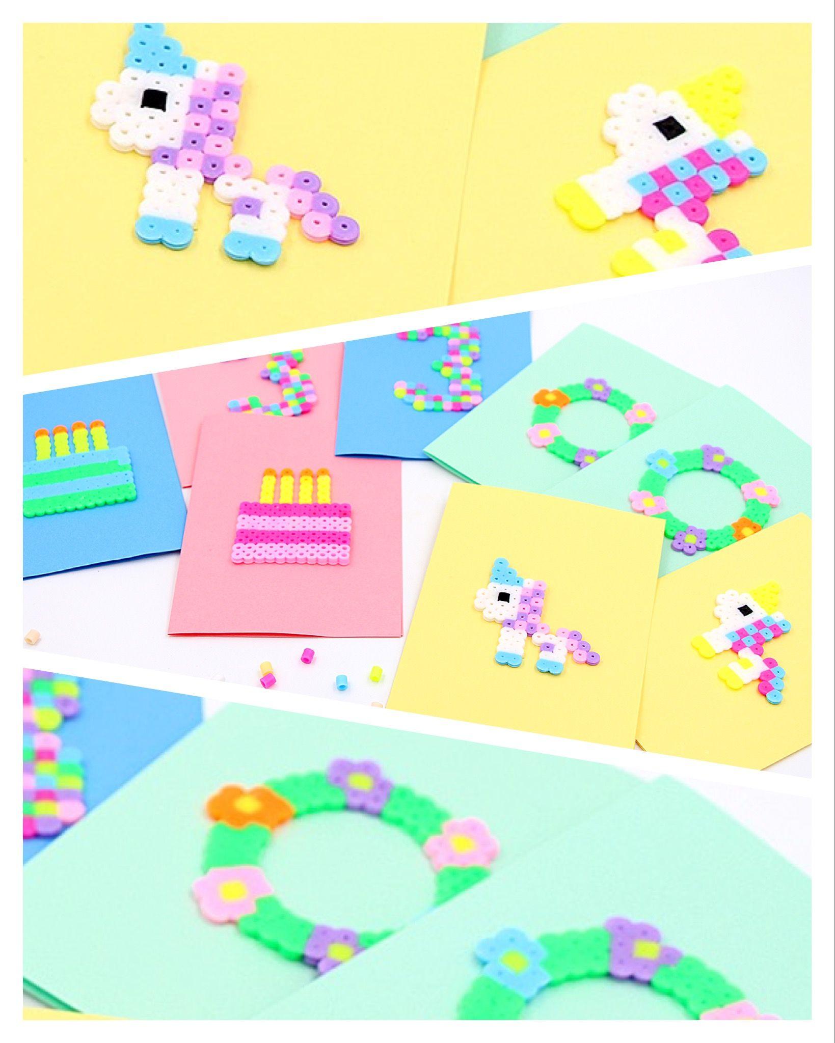 DIY – Vorlagen für Geburtstagskarten aus Bügelperlen | Bügelperlen ... - Geburtstagskarte Schreiben