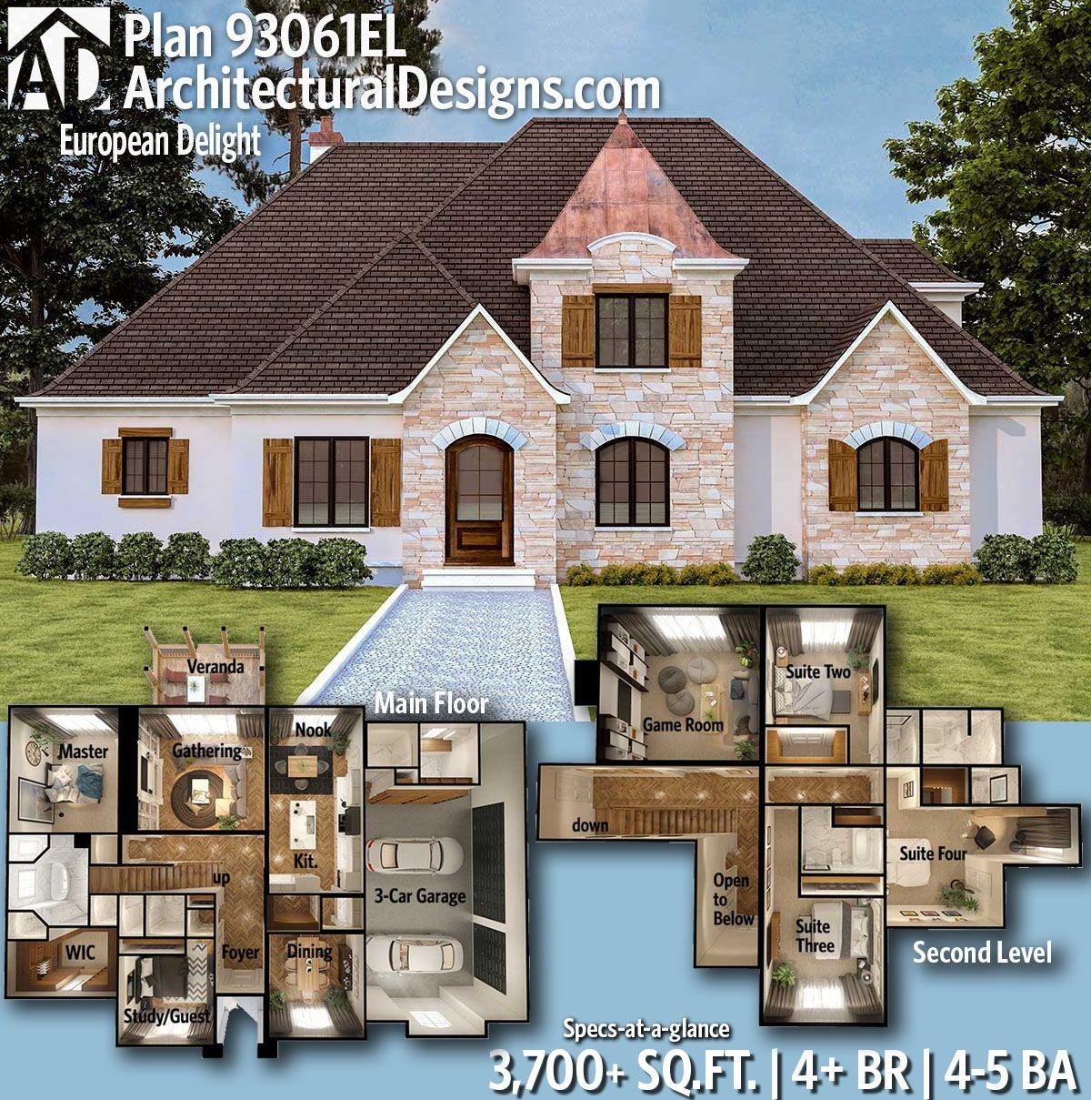 Plan 93061el European Delight Architectural Design House Plans House Plans European House