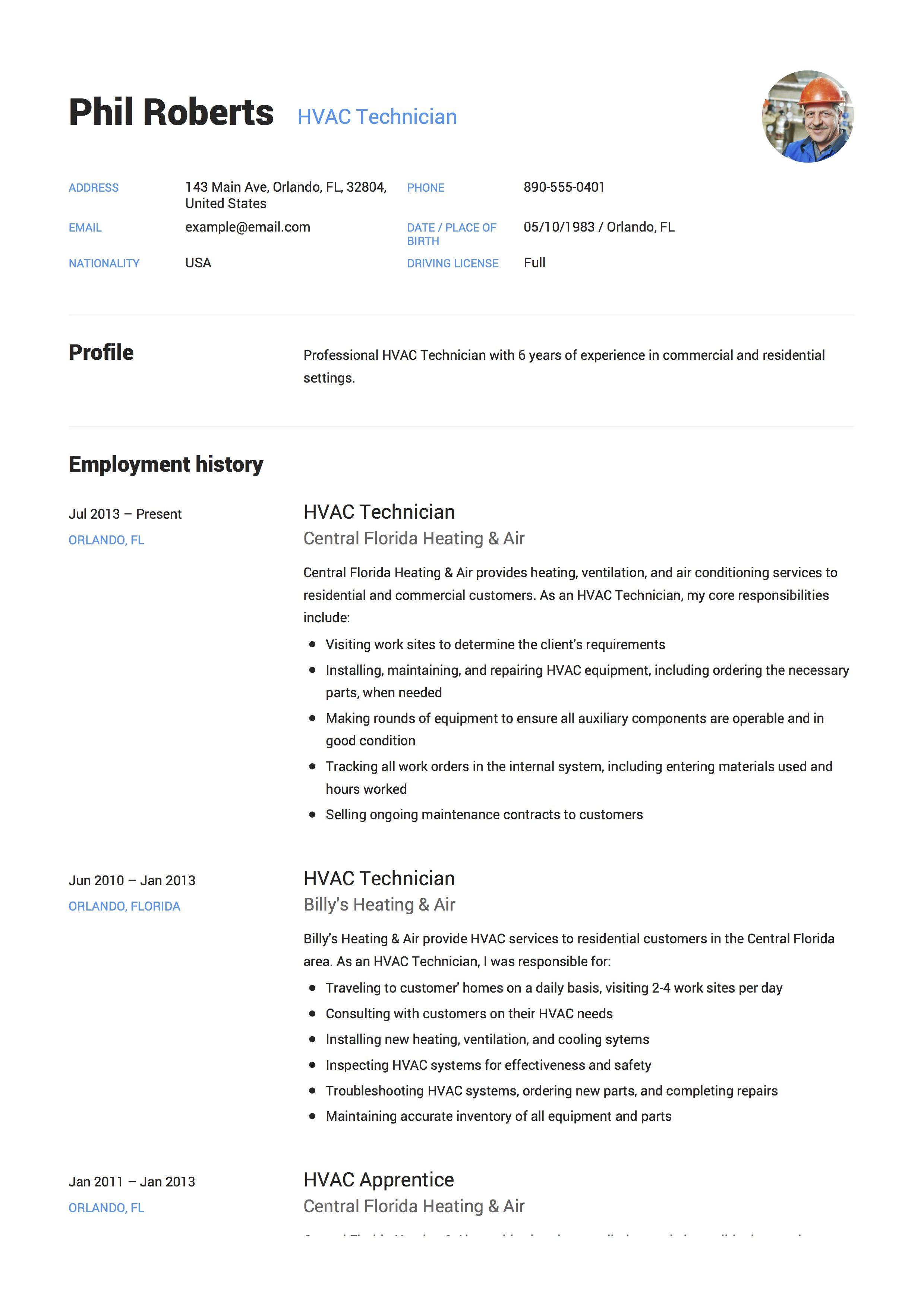 Hvac Technician Resume Example Resume Guide Resume Templates Hvac Technician