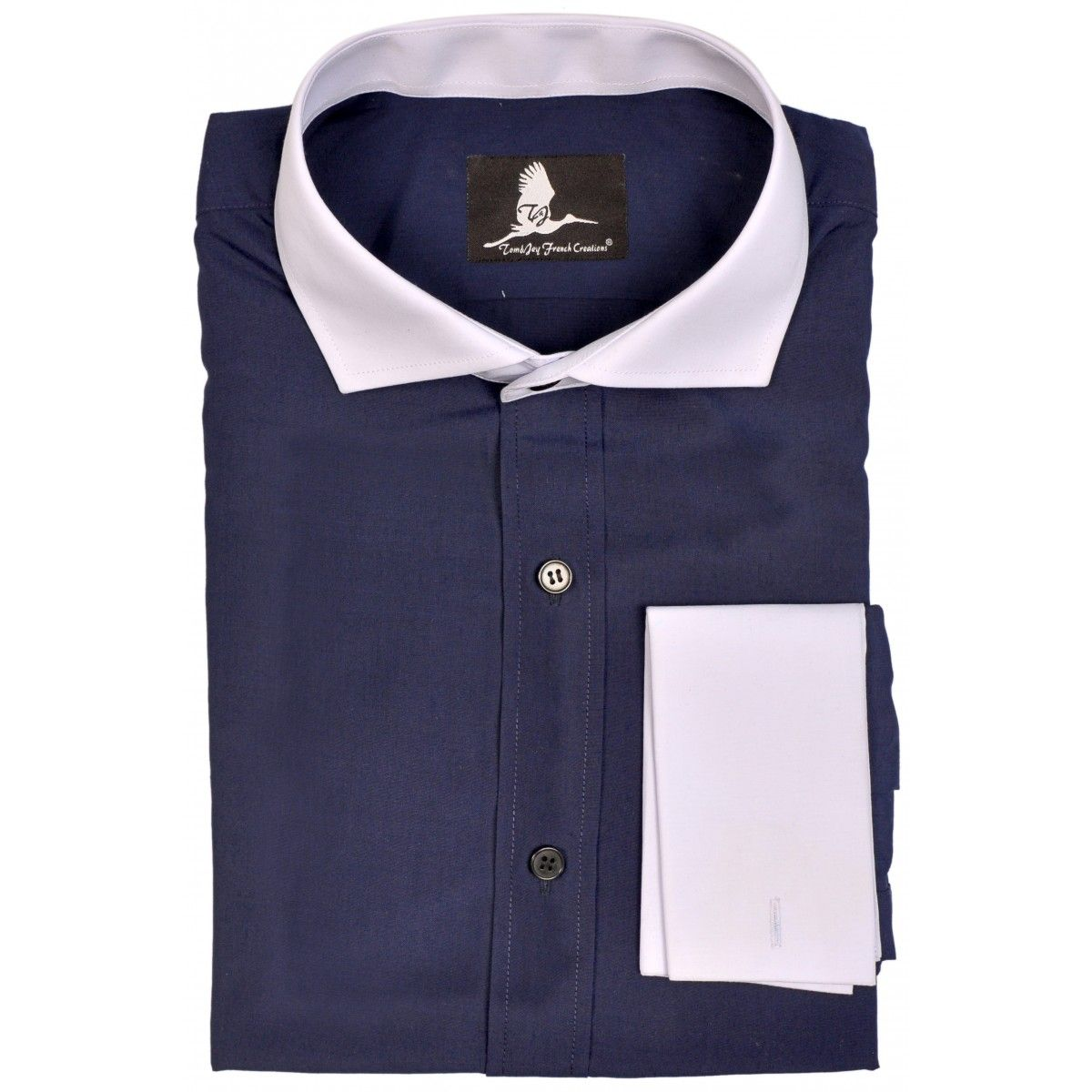 7962a2467a Dark Blue White Collar & Cuffs Shirt | Contrast shirts | Shirt cuff ...